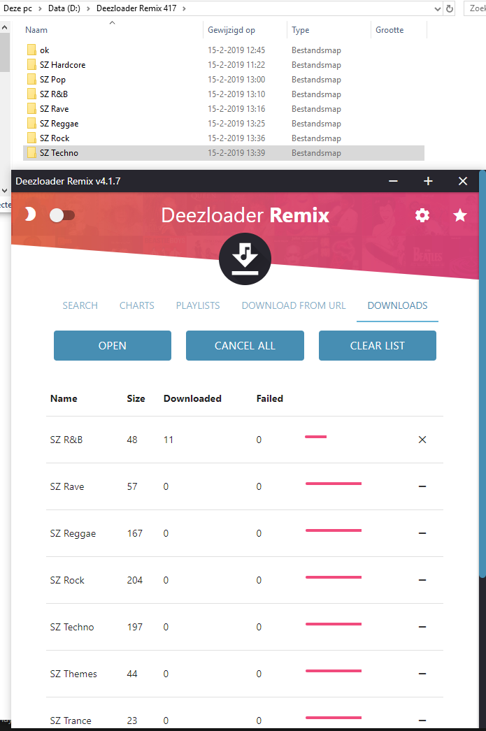 4 1 7: When d/ling multiple playlists, download counter hangs
